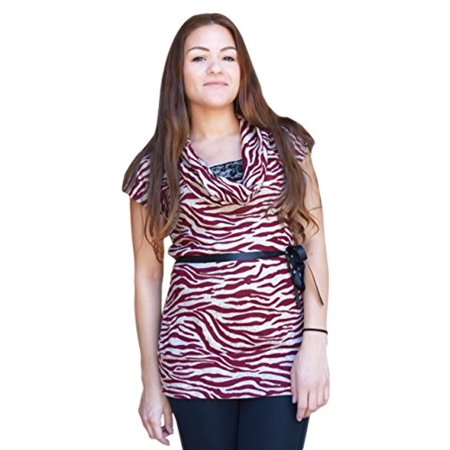 Couture Zebra - Peach Couture Zebra Print Cowl Neck Lace Detailed Elegant Belt Tunic Top