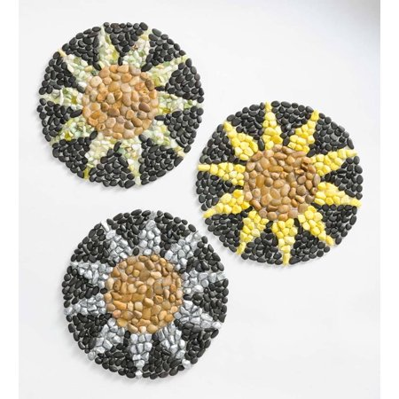 Cheerful & Colorful Sunflower Outdoor Garden Stepping Stones, Set of 3