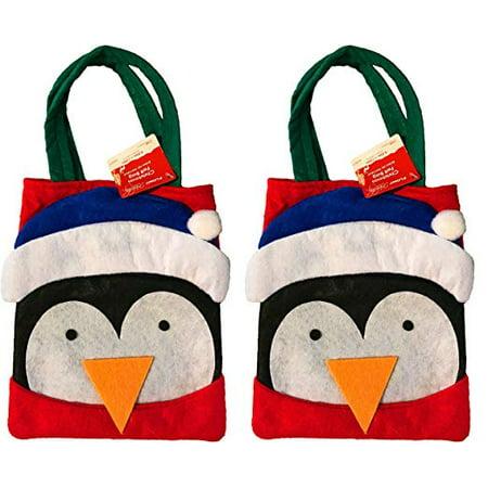 Christmas Felt Handmade Penguin Treat Gift Bags (2 Pack) ()