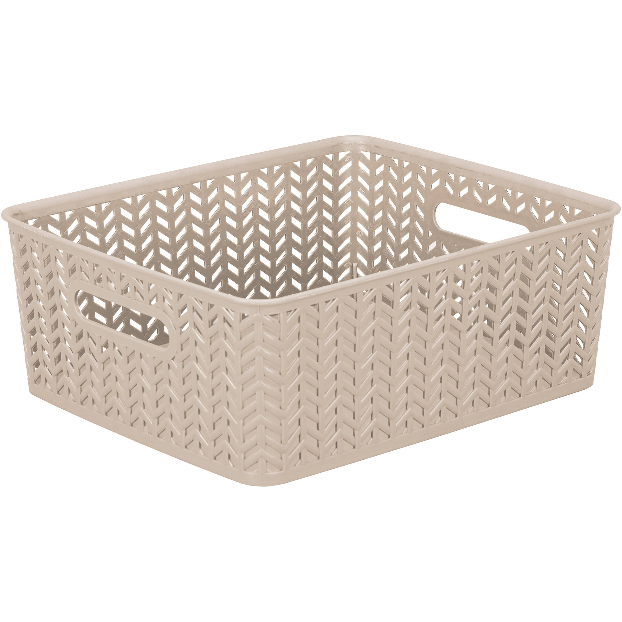 "Resin Herringbone Storage Tote, Medium, 14"" x 11.5"" x 5.15"""