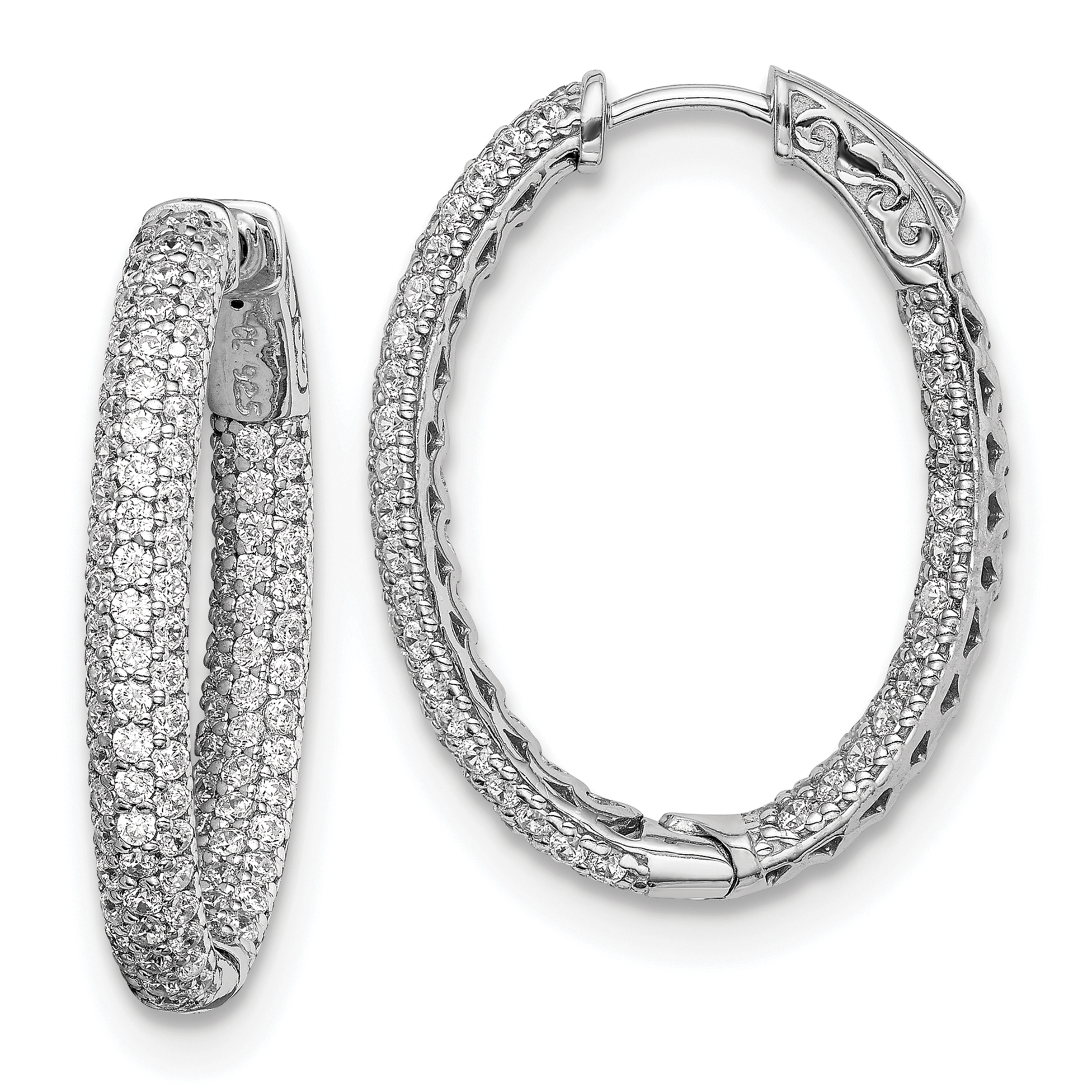 925 Sterling Silver .81 Inch Diameter Cubic Zirconia Cz Hoop Earrings ... 11e6fdb331