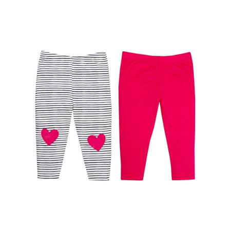 100% Organic Cotton Novelty Knit Pants, 2-pack (Baby Girls)
