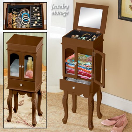 Wooden Velvet-Lined Jewelry and Accessory Storage Cabinet with Faux Crystal Door Knobs and Mirror