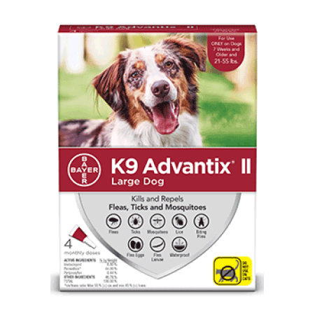 K9 Advantix II Flea and Tick Treatment for Large Dogs, 4 Monthly Treatments