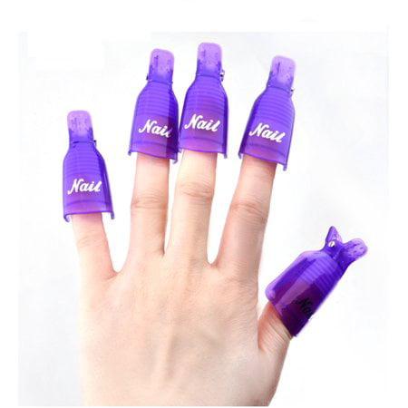 WALFRONT UV Gel Nail Art Remover Clip, Polish Remover Clip Soak Off Cap Nail Cleaner Wrap Manicure Tool 10Pcs/Set