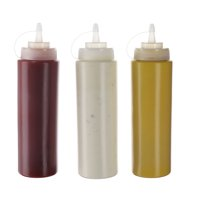 Oaklyn (3pk) 20 oz Plastic Squeeze Squirt Condiment Bottles with Twist-On Lids