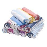 Swan Comfort Bath & Resort Beach Towel, %100 Cotton Peshtemal, Pool, Spa, Sauna, Hot Yoga Towel (Double Sided) Various Colors - ( Navy - Red )