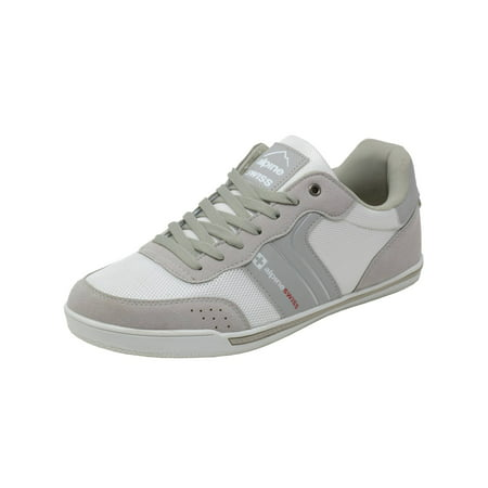 Silver Childrens Shoes (Alpine Swiss Liam Mens Fashion Sneakers Suede Trim Low Top Lace Up Tennis)