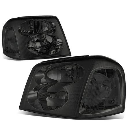 Corner Lights Lens - For 02-09 GMC Envoy Pair of Headlight Lamp (Smoked Lens Clear Corner) 2nd gen XL 03 04 05 06 07 08