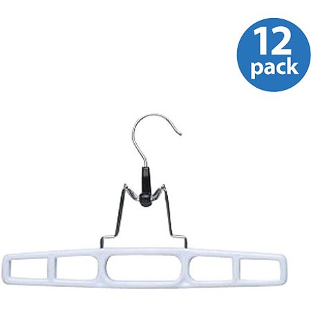 1/2 Hanger (Honey Can Do Plastic Pant Hangers with Clamp, White (Pack of 12))