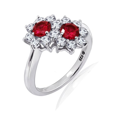 Gemour Platinum Plated Sterling Silver Round Created Ruby Flower Bypass Ring with Swarovski Zirconia Accents