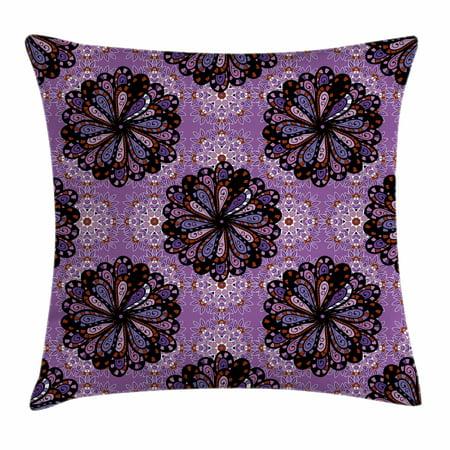 Purple Mandala Throw Pillow Cushion Cover Vintage Ethnic Beauty Petal Elegance Boho Round Inspiration Design