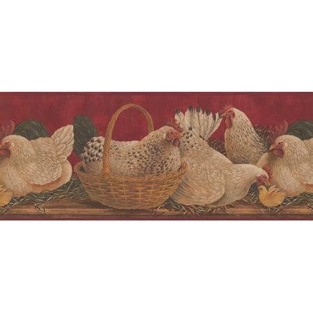 White Hens Yellow Chicken Basket Scarlet Red Kitchen Wallpaper
