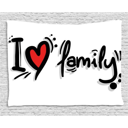 Family Tapestry, I Heart Family Stylized Writing Pictogram Style Artwork Decorated with Dots, Wall Hanging for Bedroom Living Room Dorm Decor, 60W X 40L Inches, Black Red White, by Ambesonne