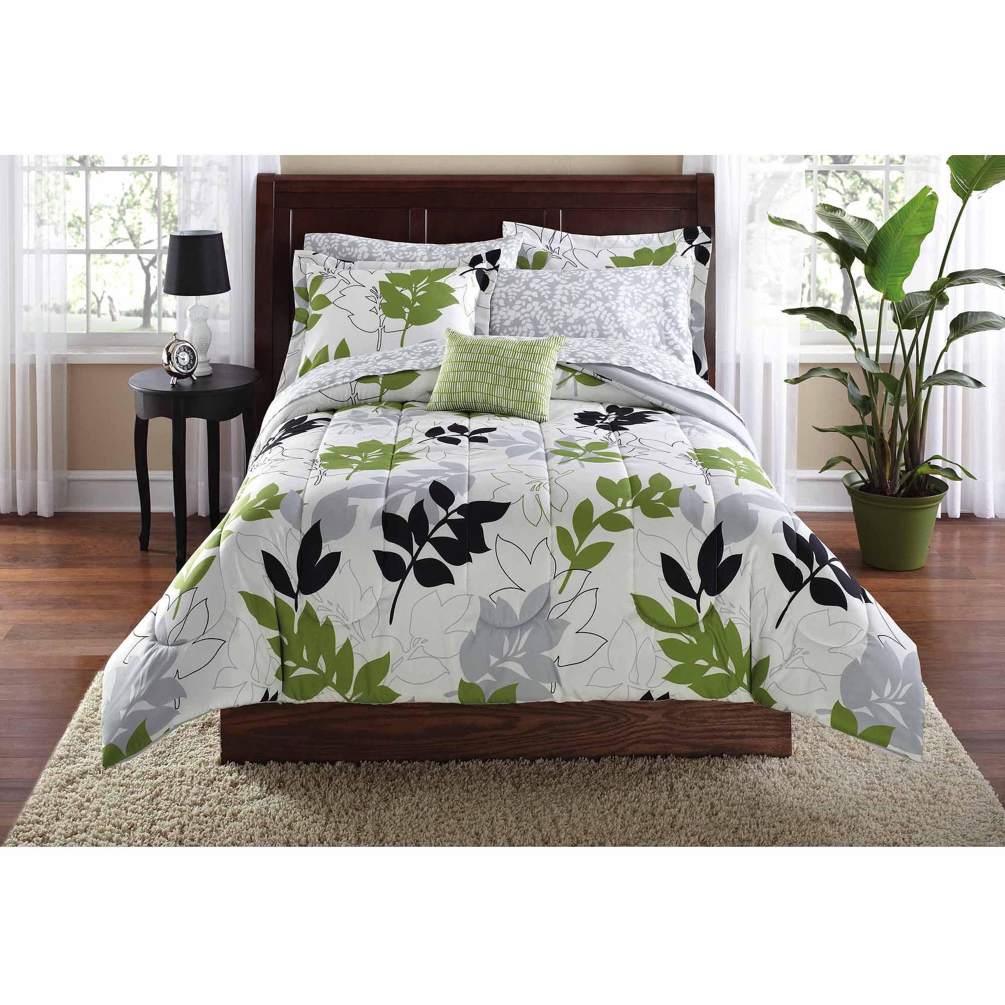 Top Mainstays Botanical Leaf Bed in a Bag Coordinated Bedding Set  FI68