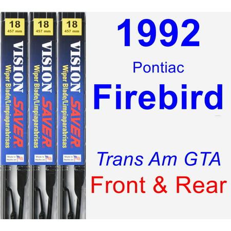 1992 Pontiac Firebird (Trans Am GTA) Wiper Blade Set/Kit (Front & Rear) (3 Blades) - Vision Saver