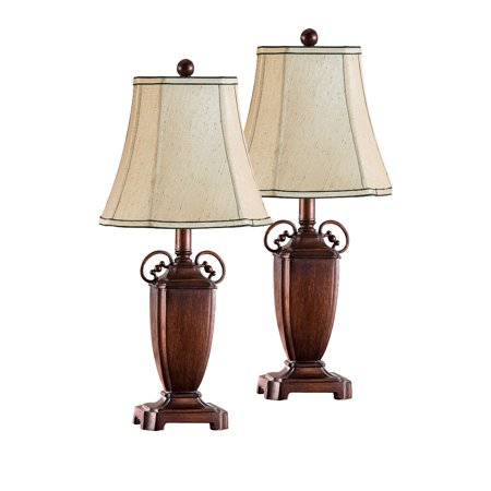 saoirse antique brushed red with light brown fabric square shade traditional bedroom bedside. Black Bedroom Furniture Sets. Home Design Ideas
