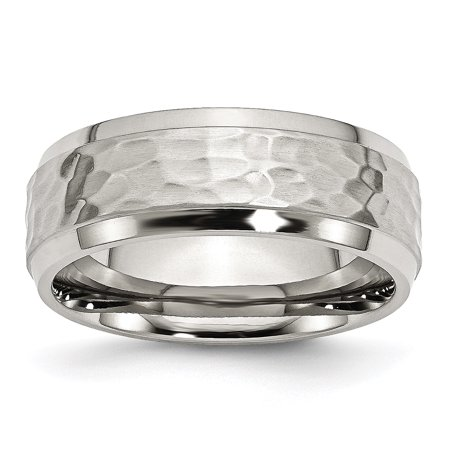 Stainless Steel Beveled Edge 8mm Hammered and Polished Band Ring