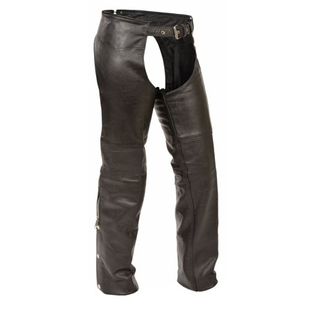 Shaf - Kids Classic Leather Motorcycle Chaps - Black - Size Medium