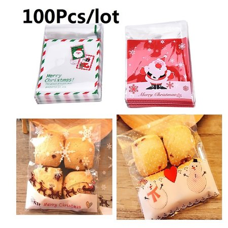 Snowman Snack (HiCoup 100Pcs Christmas Santa Claus Moose Snowman Snack Biscuits Cookie Packaging)