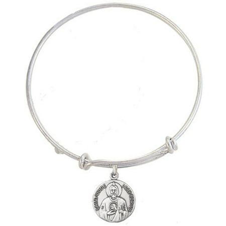 Silver Tone Bangle Bracelet with Pewter Saint Jude Medal, 7 1/2 - 1/2 Inch Bangle Bracelet