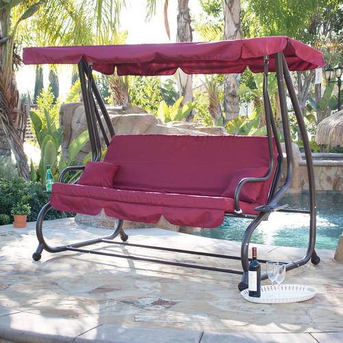 Belleze Outdoor Canopy Porch Swing/Bed Hammock Tilt Canopy with Steel Frame