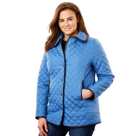 Woman Within Plus Size Quilted Snap-front Jacket
