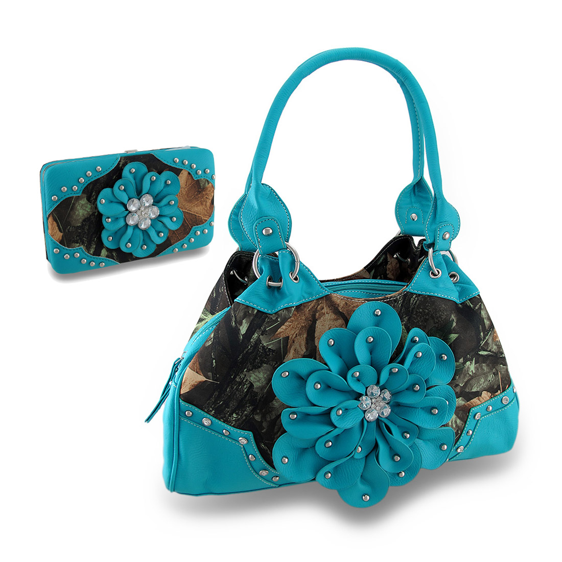 Zeckos - Forest Camouflage Studded Rhinestone Flower Carpet Bag Purse/Wallet Set Turquois - Turquoise