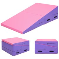 Best Choice Products 60x30x14in Folding 2-Panel Foam Cheese Wedge Incline Gym Mat for Tumbling, Aerobics, Cheer, Dance w/ Handles - Pink/Purple