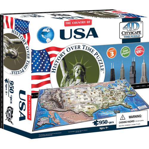 4D Cityscape USA History Time Puzzle, 950+ Pieces