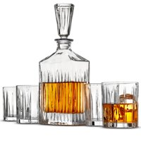 Leoney 5-Piece European Style Whiskey Decanter Glass Set - With Gift Box - Exquisite Striped Design Liquor Decanter and 4 Whiskey Glasses - Perfect Whiskey Decanter Set for Scotch Alcohol Bourbon.