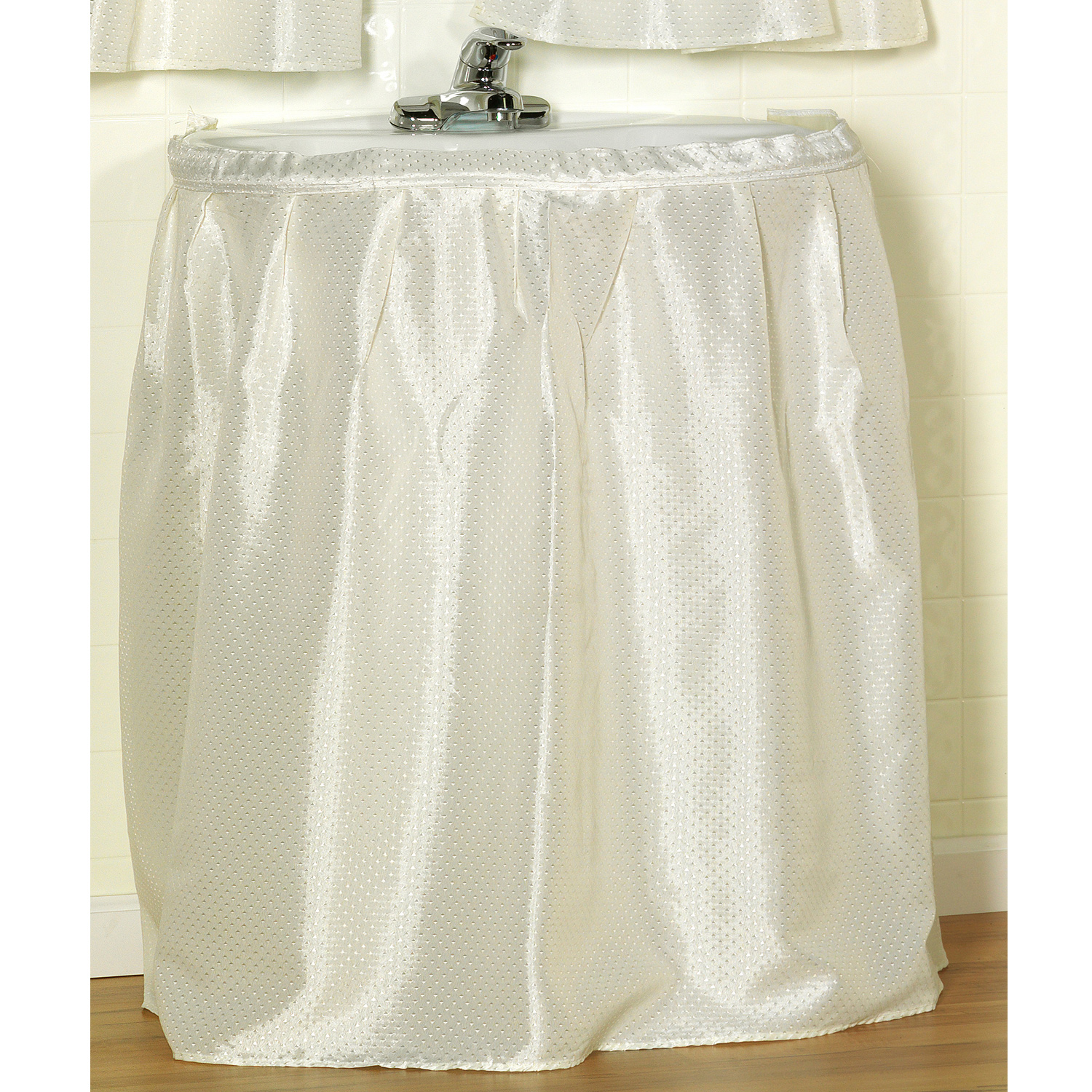 "Lauren Embossed Diamond Pattern Fabric Bathroom Sink Drape 56""W x 32""L"