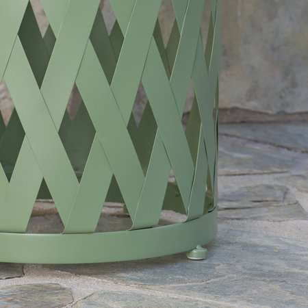 Aubriella Outdoor 12 Inch Diameter Iron Side Table, Matte Green