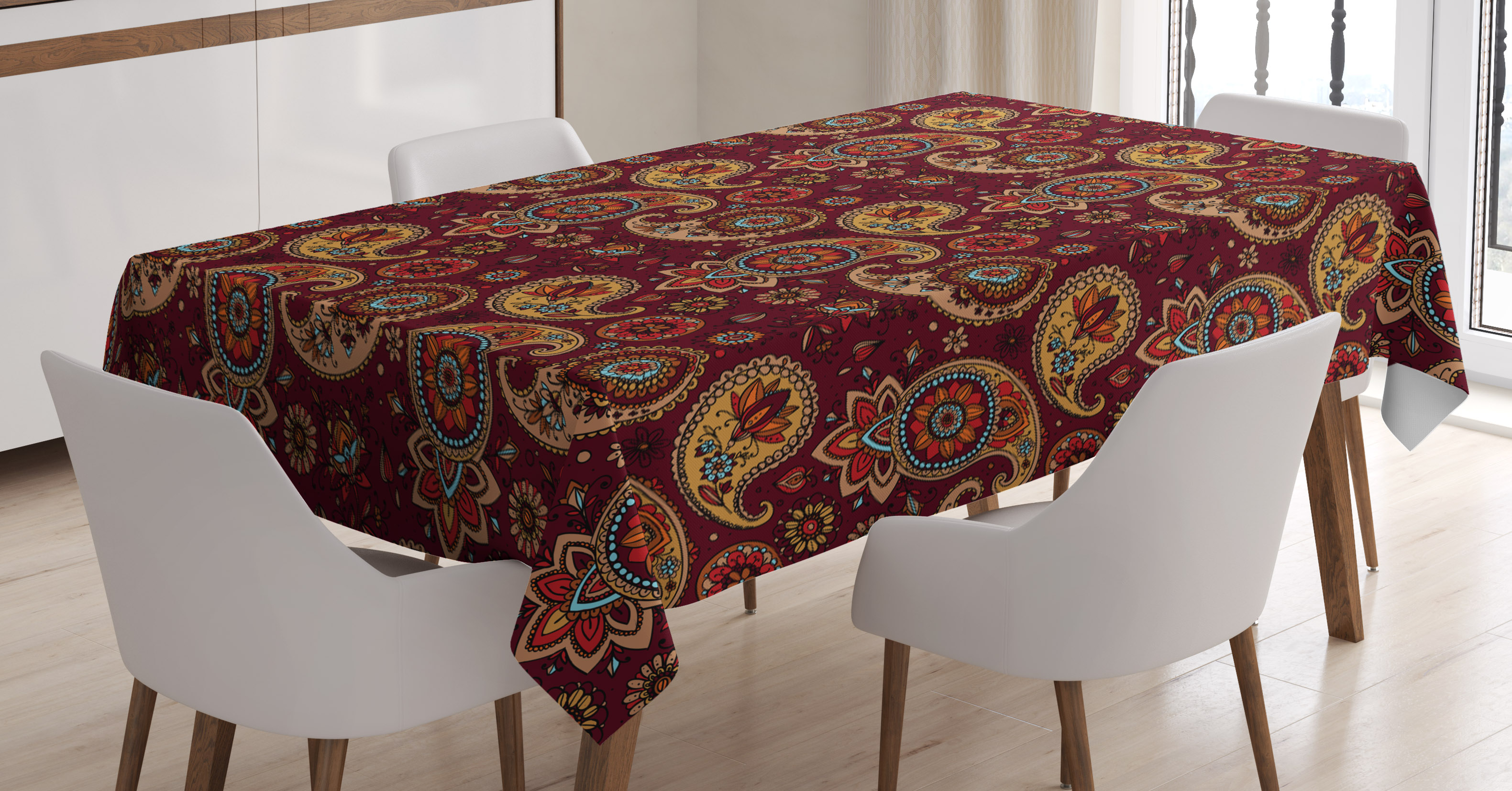 Paisley Tablecloth, Middle Eastern Culture Stylized Pattern Tribual Artwork  Bohemian, Rectangular Table Cover For