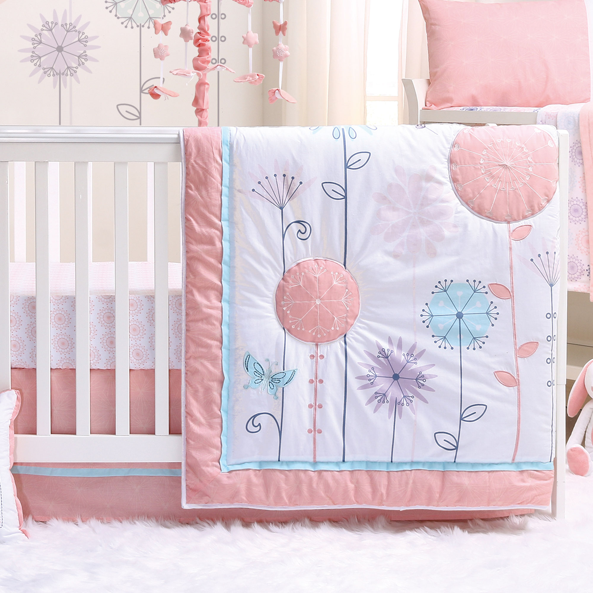 Wildflower 4 Piece Baby Crib Bedding Set - Coral, Purple - Floral, Butterfly
