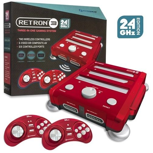 Hyperkin Retron 3 Video Game System for NESSNESGENESIS - Red