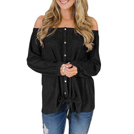fde266051b68e Issac Live - Womens Casual Off The Shoulder Criss Cross Shoulder Long  Sleeve Loose Pullover Sweatshirt Tops - Walmart.com