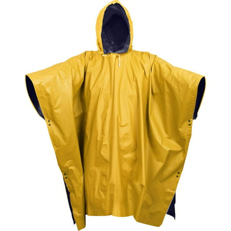 Yellow Rain Poncho (Navy Blue To Yellow - Reversible Wet Weather Rain Poncho -)