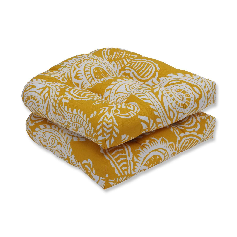 "Set of 2 White Paisley Swirl and Mustard Yellow Tufted Wicker Seat Cushions 19"""