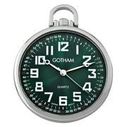 Men's Railroad Open Face Silver-Tone Analog Quartz Pocket Watch with Chain # GWC15027SG
