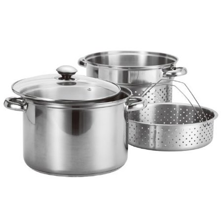 Stainless Steel 4 Pcs Pasta Cooker Set - 8 qt Stock Pot with Steamer Inserts7.75 Diameter pasta insert with height of 7.5 inches By Imperial (Steamer Pasta Sets)