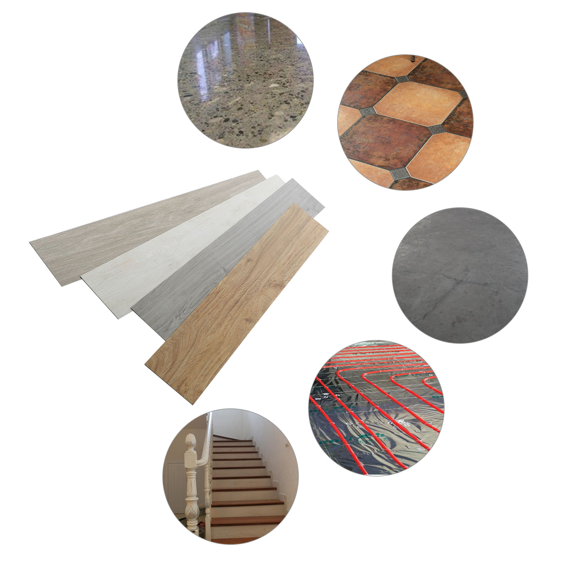 "6"" x 36"" 16 PCS Vinyl Floor Planks Adhesive Floor Tiles 2.0mm Thick Easy Installation"