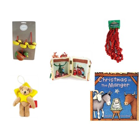 Christmas Fun Gift Bundle [5 Piece] - Martha Stewart Woodland  Set of 4 Duck Ornaments -  Time Red Bead Garland 9' Foot - Santa's Here Story House Resin Figurine - Brown Bear Yellow Star Cape Orname for $<!---->