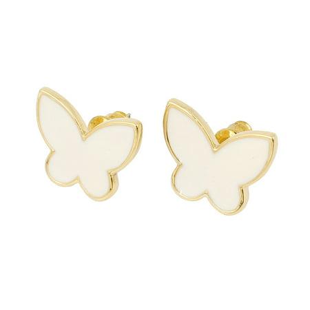 Women White Butterfly Shaped Rhinestone Inlaid Eardrop Ear Stud Earrings Pair