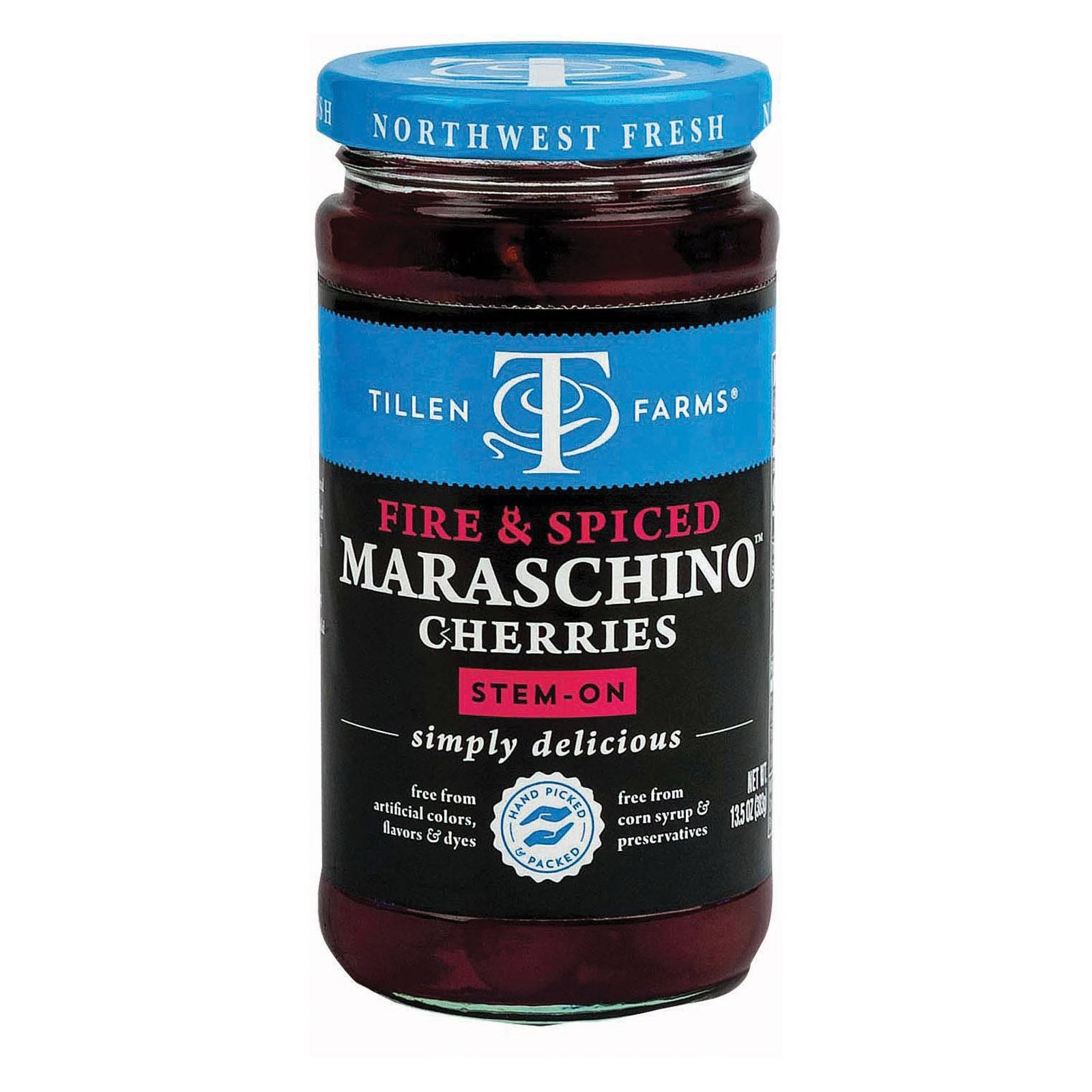 Tillen Farms Cherries - Maraschino - Spiced - pack of 6 - 13.5 Oz