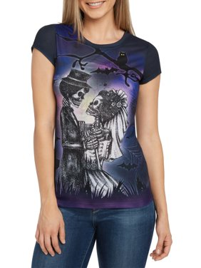 Jerry Leigh Women Skeleton Groom & Bride T-Shirt Halloween Sublimated (Juniors)