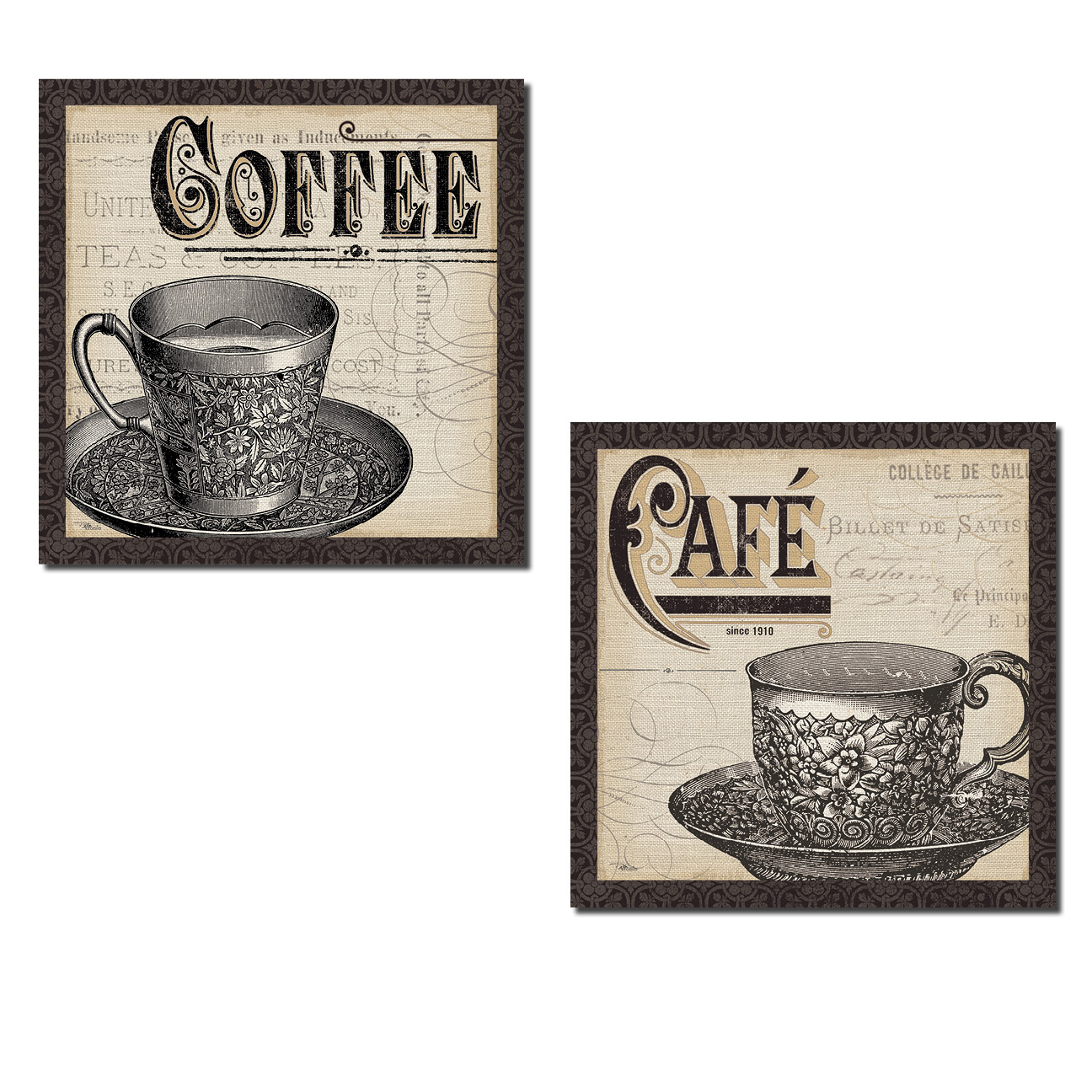 2 Vintage-Style Cafe and Coffee Cups with a Script Background by Pela Studio; Kitchen Decor; Two 12x12in Paper Posters