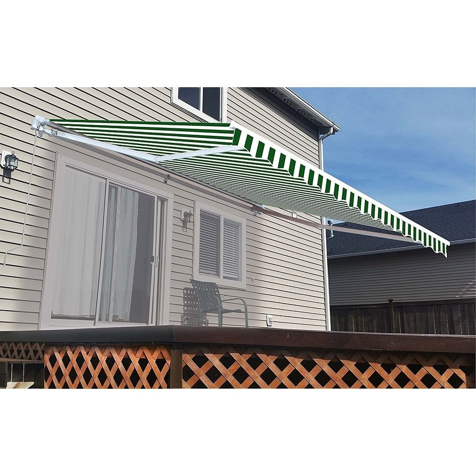 ALEKO Retractable Motorized Patio Awning, 16' x 10', Green and White Stripe