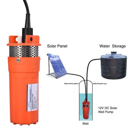 WALFRONT 1/2Inch 12V Submersible Deep Well Water DC Pump Alternative Energy Solar Powered,Pump, Deep Well