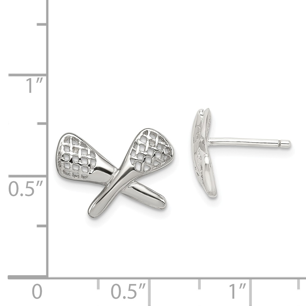Sterling Silver Polished Post Earrings Rhodium-plated LaCrosse Earrings